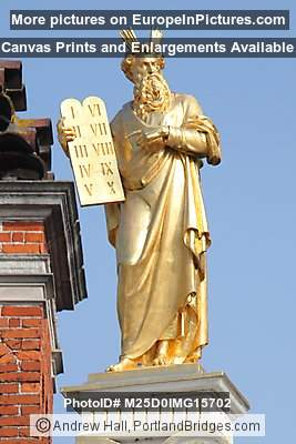 Gold Moses Statue on top of Town Hall, Brugge