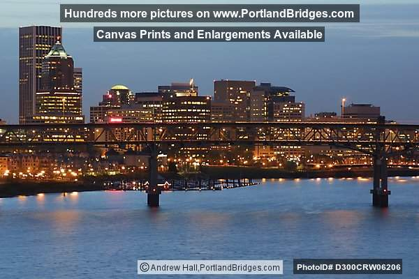 Marquam Bridge, Portland Cityscape from Ross Island Bridge, Dusk