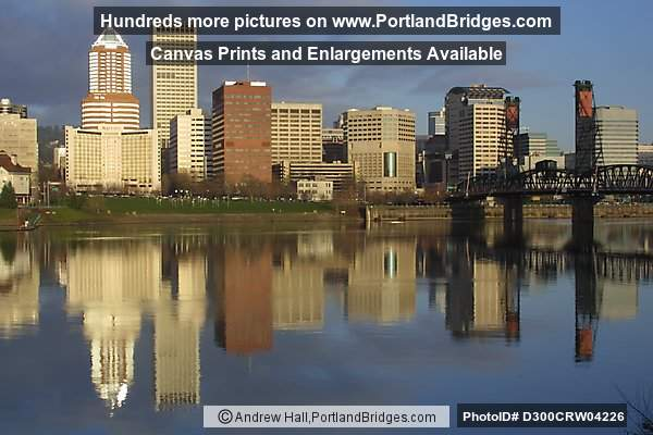 Portland Cityscape and Hawthorne Bridge, Early Morning