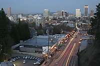Portland Skyline From Vista Viaduct Dusk