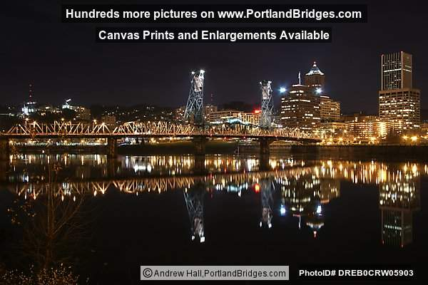 Portland Cityscape, Hawthorne Bridge, River Reflections, Dusk