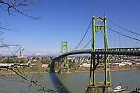 Portland St Johns Bridge Sauvie Island Bridge Sunny